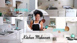 EXTREME DIY Kitchen Makeover//Rental Friendly/Floor, Backsplash, contact paper & MORE! $300 BUDGET