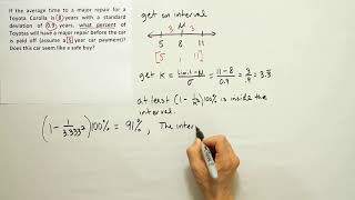 Using Chebyshev's theorem to infer an upper bound for the percent of data outside an interval