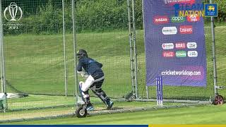 Sri Lanka team practices ahead of its World Cup game against India
