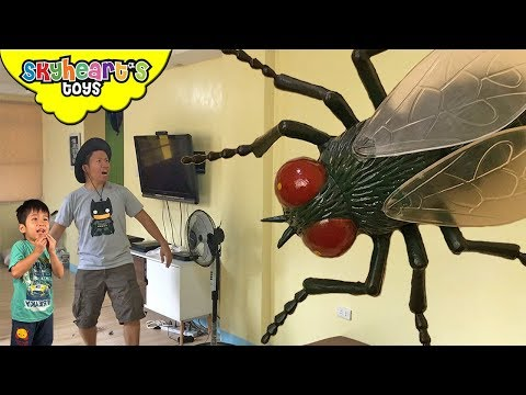 GIANT FLY ATTACKS TODDLER | Skyheart and Daddy Pest Fight Battle Insect toys kids
