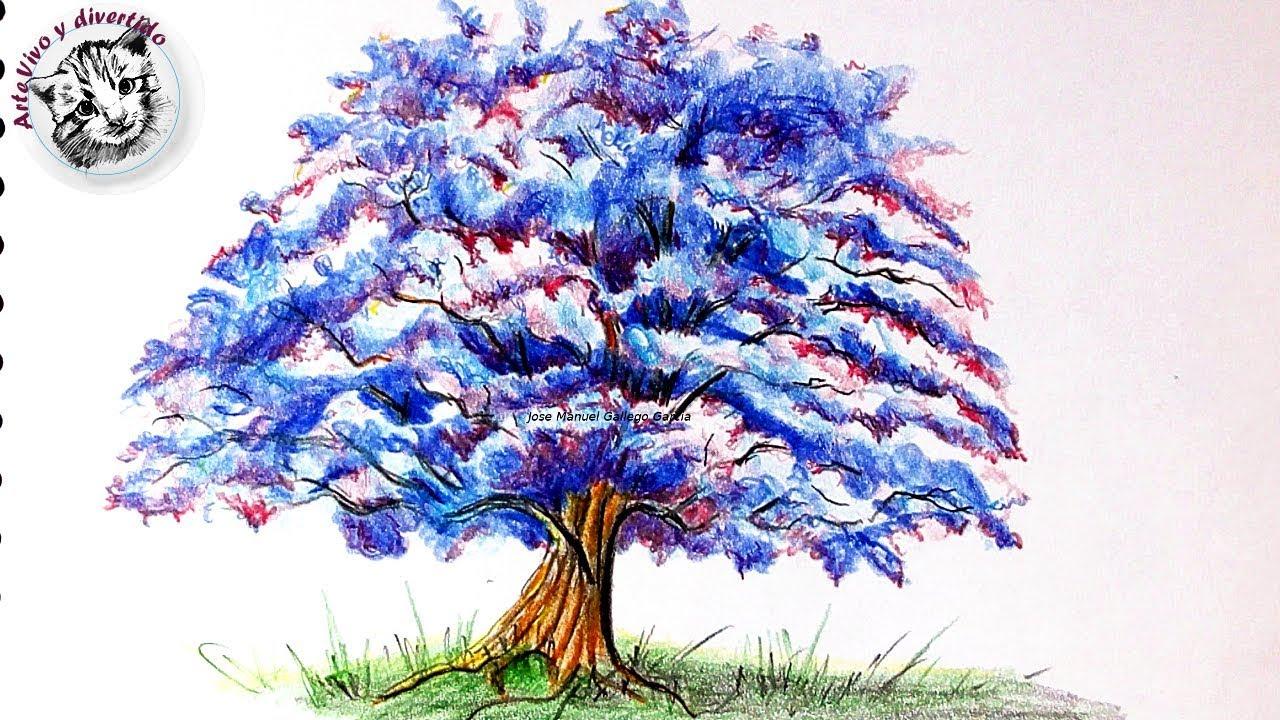 Cómo Dibujar un Árbol de Fantasía con Lápices de Colores Paso a Paso -  YouTube