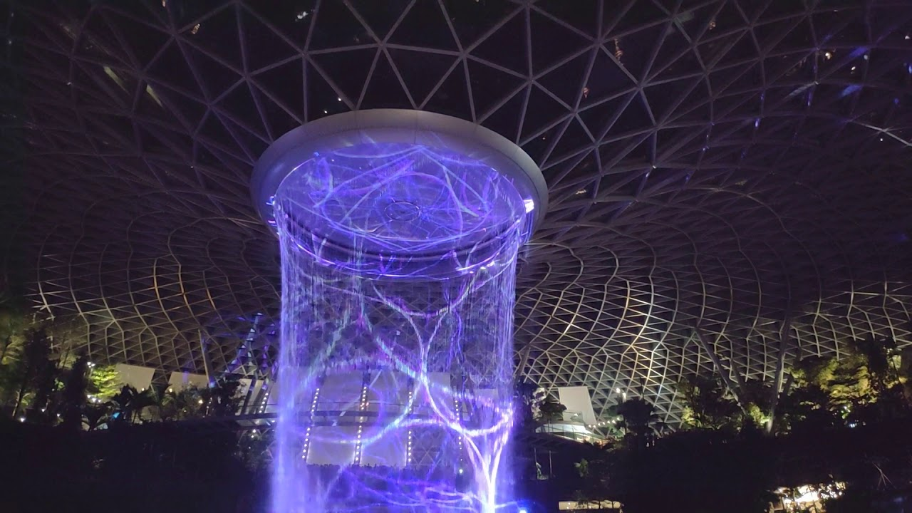 Jewel Rain Vortex Light Show At Changi Airport Singapore