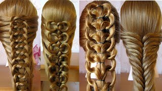 4 Most Beautiful Easy Elastic Rubber band Hairstyles for girls | Party hairstyle | Coiffures simples