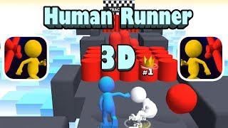 Human Runner 3D - Gameplay - First Levels 1 - 2 (iOS)