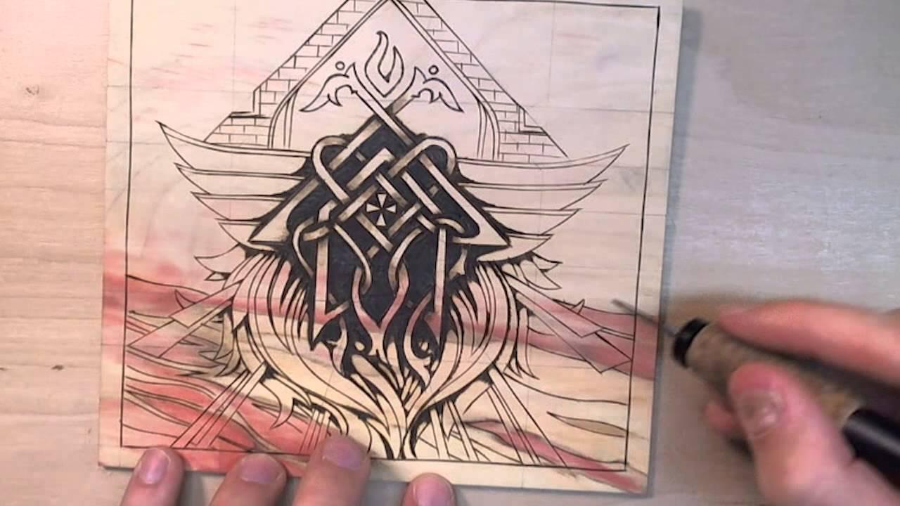 Pyrography Wood Burning Drawing On Box Elder Youtube