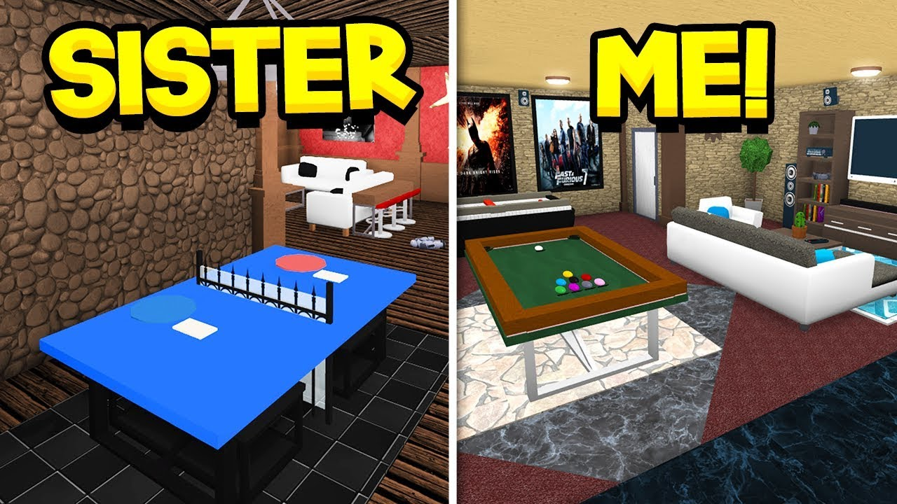 How To Build A Pool In Bloxburg Roblox Sister Vs Brother Bloxburg Basement Build Off Roblox Youtube