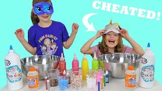 MY SISTER CHEATED!! Blindfolded Slime Challenge