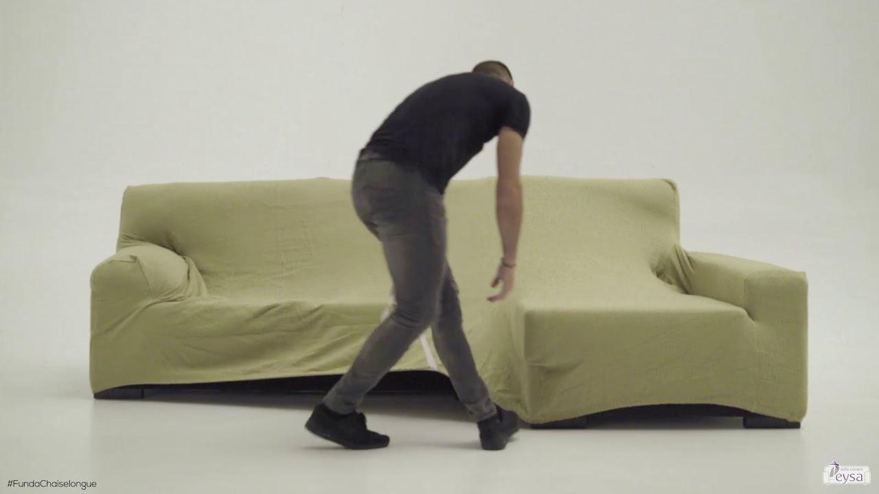 C mo montar una funda sofa chaise longue youtube - Fundas elasticas para sofa ...