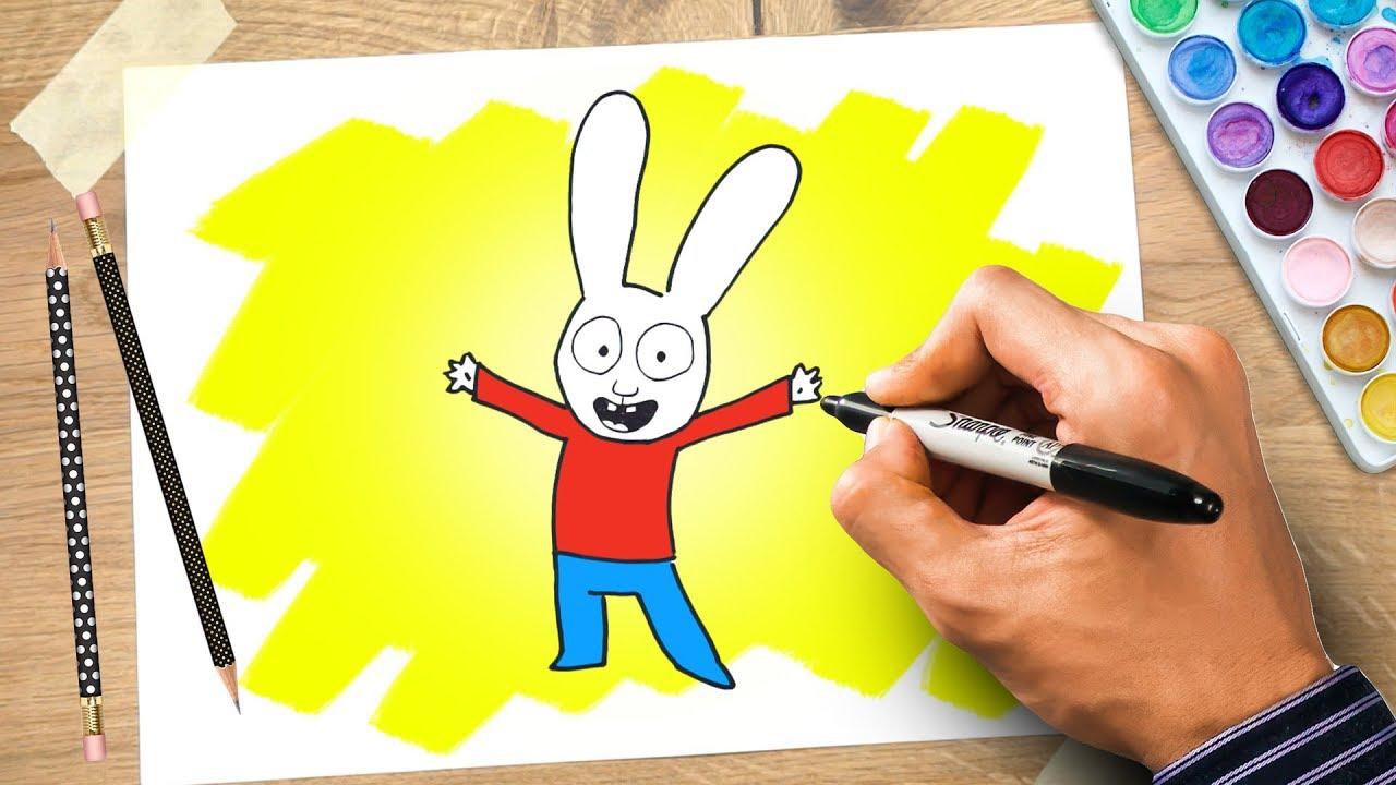 Simone il coniglio cartone animato disegnare e colorare in