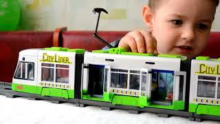 Скоростной ТРАМВАЙ . Игрушки машинки Мультики Для детей . ТРАНСПОРТ видео для детей