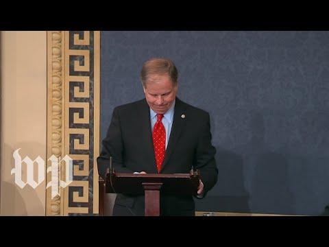 Jones gets emotional during first speech on Senate floor