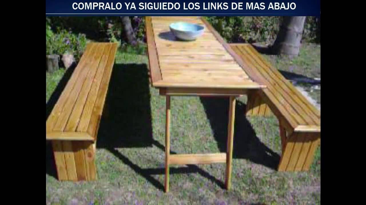 Mesa para quincho patas plegables y bancos reforzados for Mesa y banco de jardin
