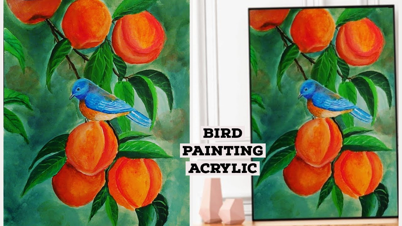 STEP By STEP Bird Painting for Beginners and Tips on Acrylic Painting for beginners#134\\Art idaes~
