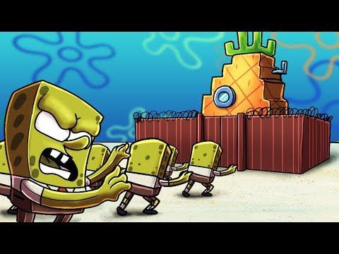 Minecraft   SPONGEBOB BASE DEFENSE - Zombie Spongebobs! (Secure the Pineapple)