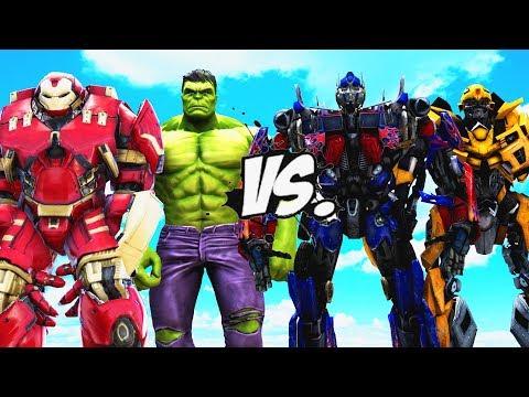 Hulk \u0026 Hulkbuster VS Transformers - Optimus Prime, Bumblebee