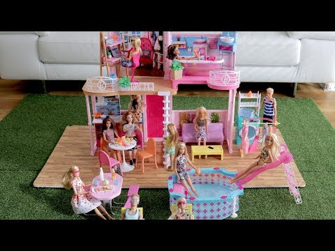 Barbie Dolls Furniture for dream house Dollhouse : Office room, Bathroom, Kitchen and Laundry Room