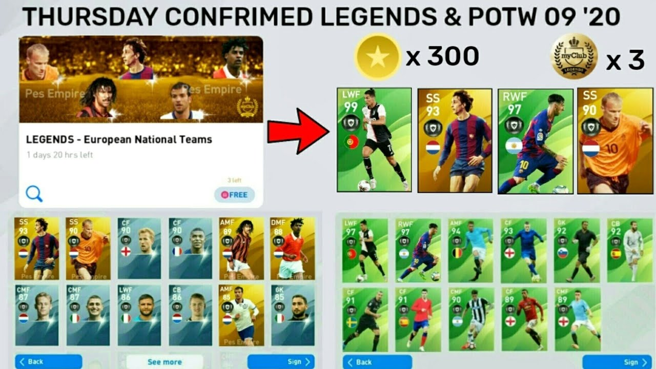 THURSDAY CONFRIMED FREE PACKS & POTW 09 '20💕 FREE LEGENDS EUROPEAN TEAM & POTW MAX LEVEL RATINGS 🔥