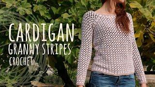 Repeat youtube video Tutorial Easy Crochet Cardigan - Granny Stripes