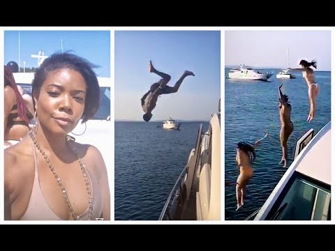 Dwyane Wade & Gabrielle Union have a jumping contest off their yacht in Ibiza