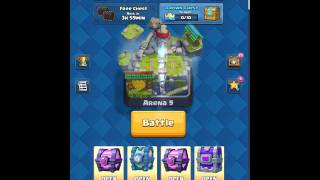 Clash Royale: opening 1 Epic, 2 Magical, 1 Legenday, 1 Crown, 1 Tournament, 2 Free chests.