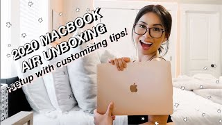 2020 MACBOOK AIR UNBOXING and easy customizing tips! ☆