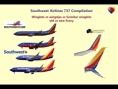 Southwest 737 compilation- old vs new livery+winglets vs wingtips vs Schimitar winglet