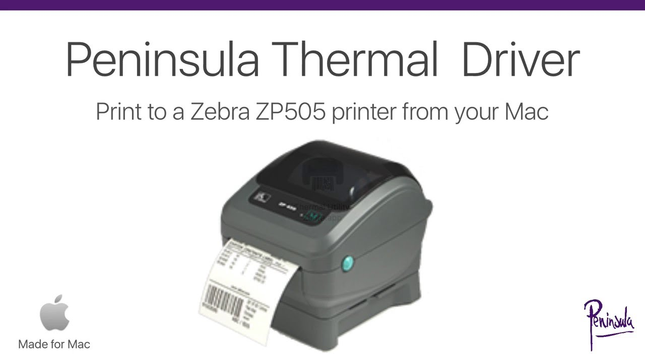 Zebra Driver for Zebra ZP505 Printer on Mac OS X