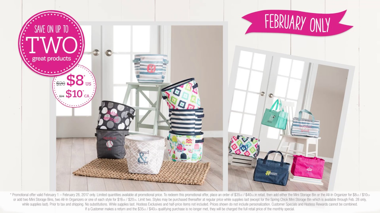 Thirty One Gifts February 2017 Customer Special Mini Storage Bin