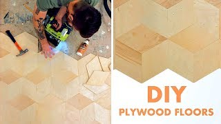 DIY PLYWOOD FLOORS | how to make and install geometric plywood floors