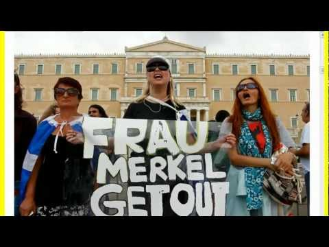 Nazi flags, furious protests greet Angela Merkel in Greece! FRAU GET OUT!!