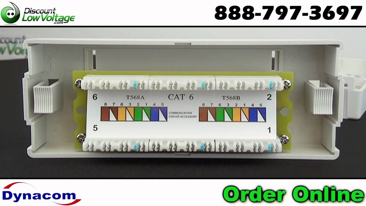 6 port wall mount RJ45 Cat6 Network Patch Panel - YouTube