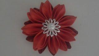 Как сделать цветы из атласной ленты 5см. Канзаши. Мастер класс