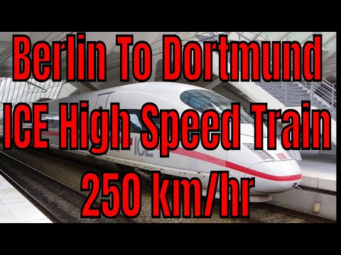 Berlin Haupbahnhof to Dortmund Germany First Class with High Speed ICE Train 250 KM per hr