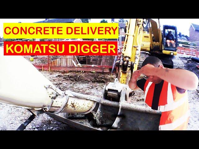 Concrete Delivery MAN Mixer Truck into Komatsu Digger Shrewsbury