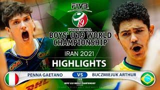 Italy vs Brazil | Boys U19 World Champs 2021 | Highlgihts | Penna Gaetano vs  Buczmiejuk Arthur