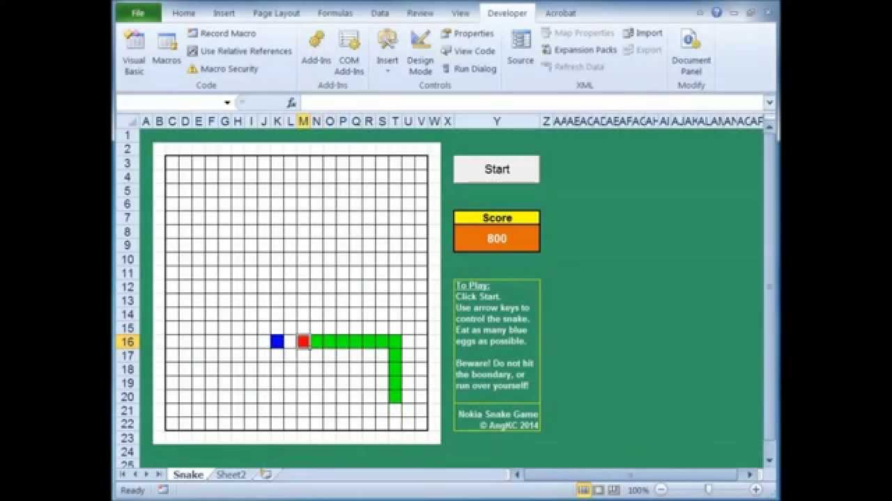 The Snake Game On Vba Excel