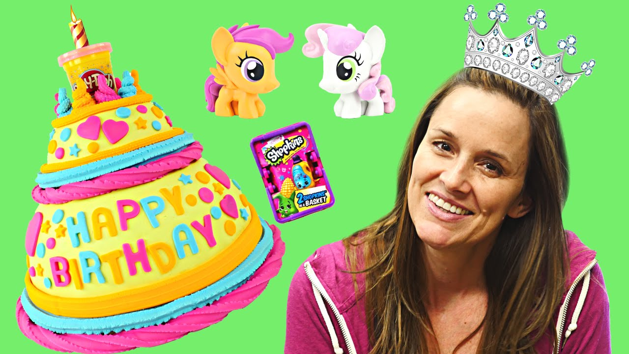 Huge BIRTHDAY Play Doh Cake Surprise Toys Frozen MyLittlePony POP