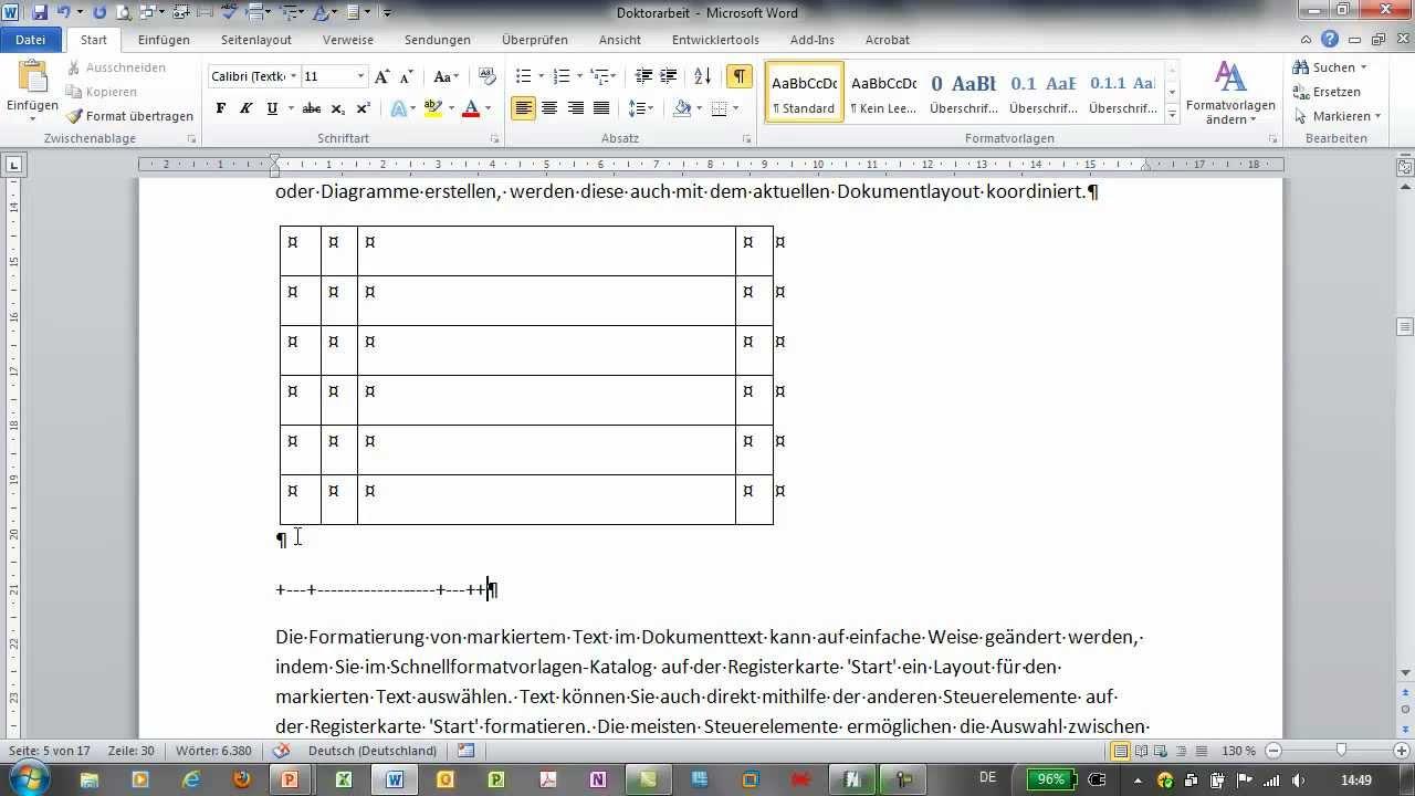 Word tabellen erstellen facharbeit muster studium