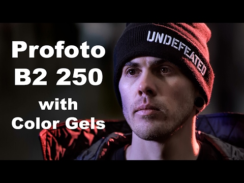 Profoto B2 250 AirTTL with Color Gels for street fashion photography