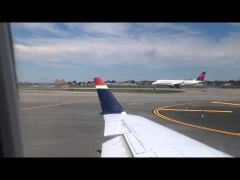 US Airways crj 200 taxi & takeoff from LaGuardia Airport, Queens, New York