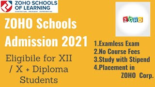 ZOHO schools Admission 2021 for XII/X + Diploma Students|No course Fees|Stipend|Examless Interview