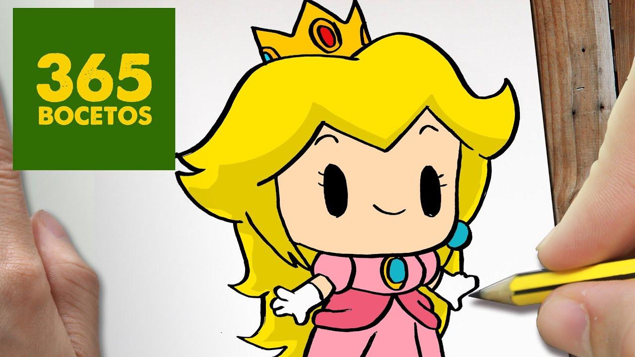 COMO DIBUJAR PRINCESA PEACH KAWAII PASO A PASO , Dibujos kawaii faciles , draw Princess Peach , YouTube