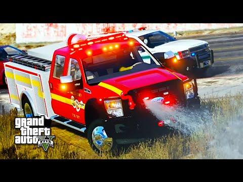 GTA V Rescue Mod V - Brush Fire Trucks Responding!
