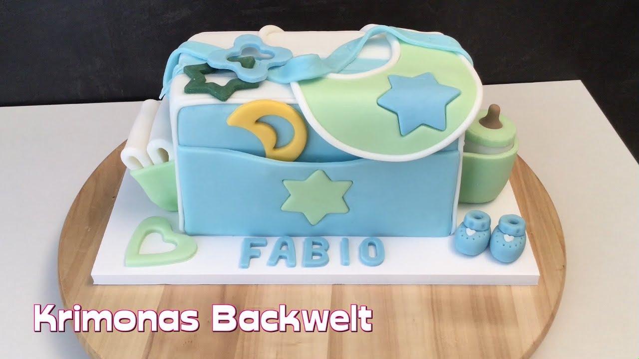 baby shower fondant torte wickeltasche diaper bag cake youtube. Black Bedroom Furniture Sets. Home Design Ideas
