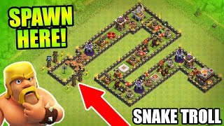 "Clash Of Clans - EPIC TROLL BASE ""THE SERPENT"" - CoC Friendly Challenge Trolling 2016!"