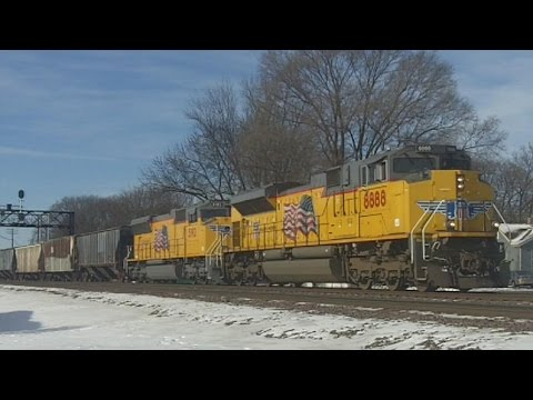 UP 8888 (SD70AH) & 5192 Both in New Paint, 1/14/16