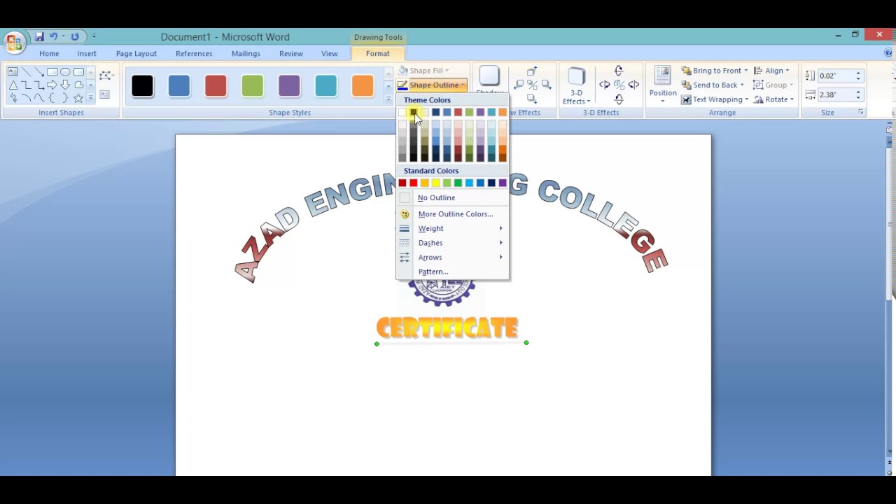 Create a Certificate Using Microsoft Word - YouTube