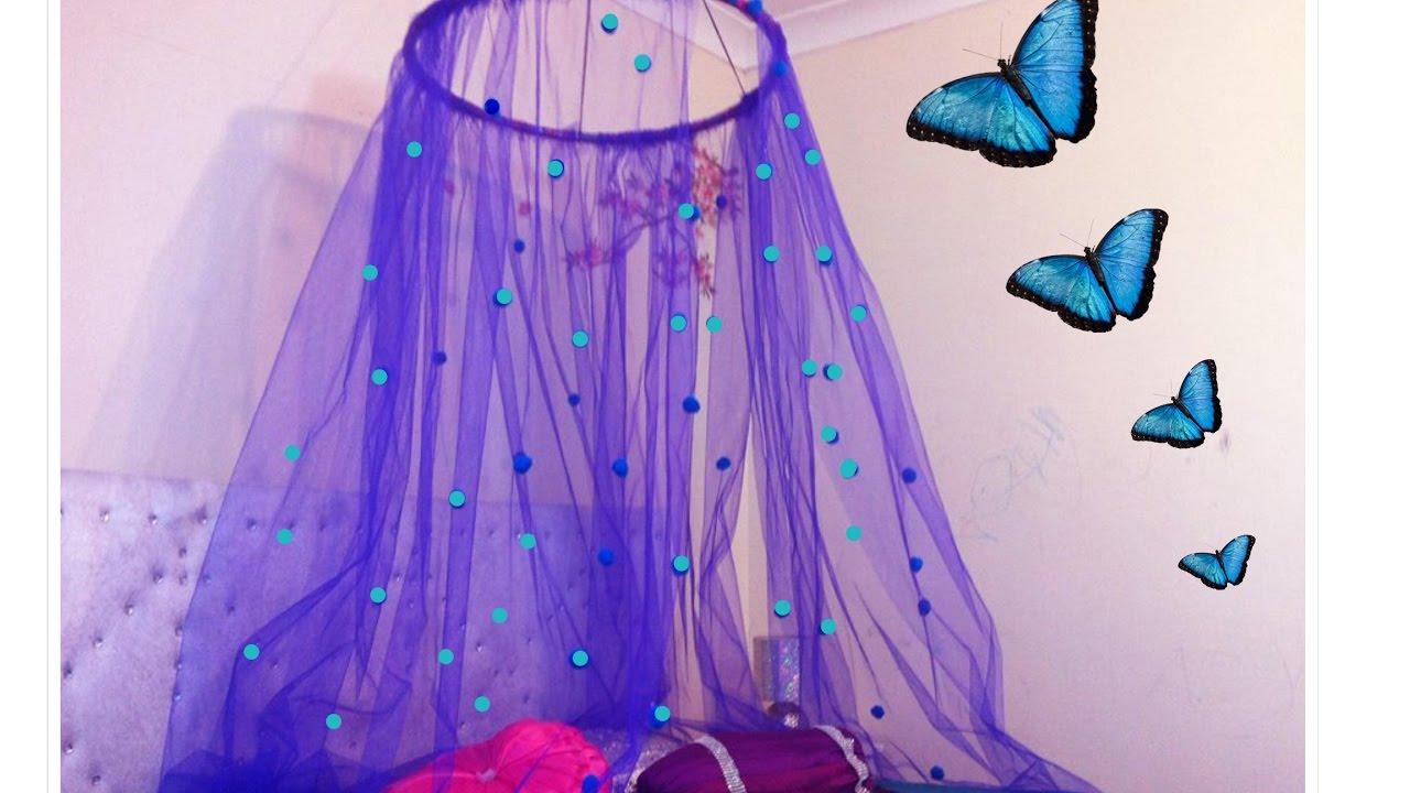How to make a bed canopy for girls - Diy Canopy In 15 Minutes Easy To Make Bed Canopy Perfect For Small Girls