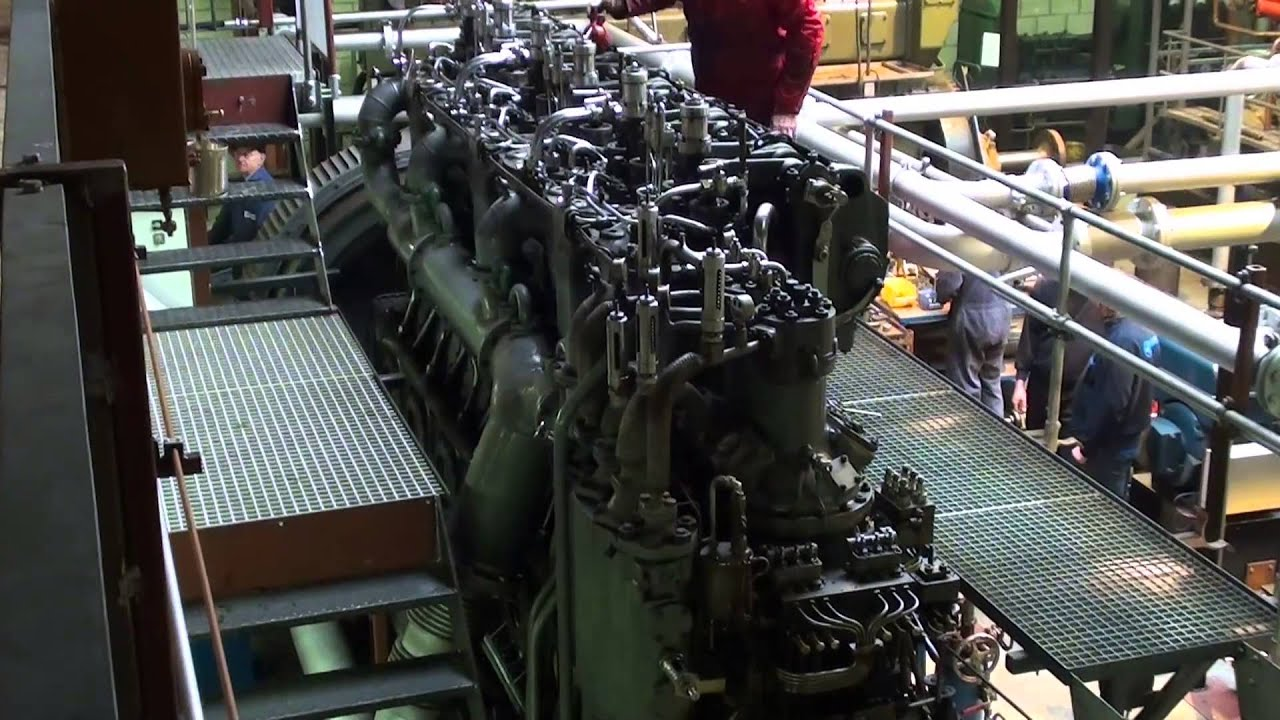 MAN F6V35 World War 1 U boat sel engine load run