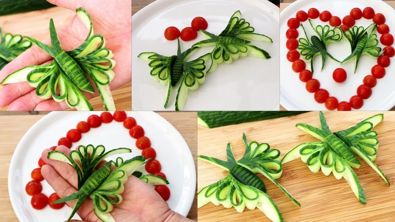 Super Salad Decoration Ideas - Cucumber Butterfly Carving Garnish